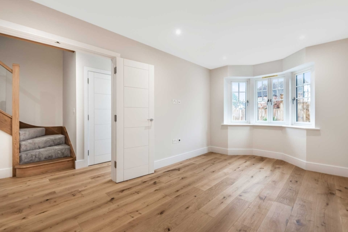 Abbey Court living room with oak floor